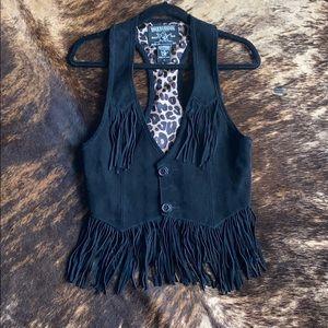 Black genuine suede fringe vest